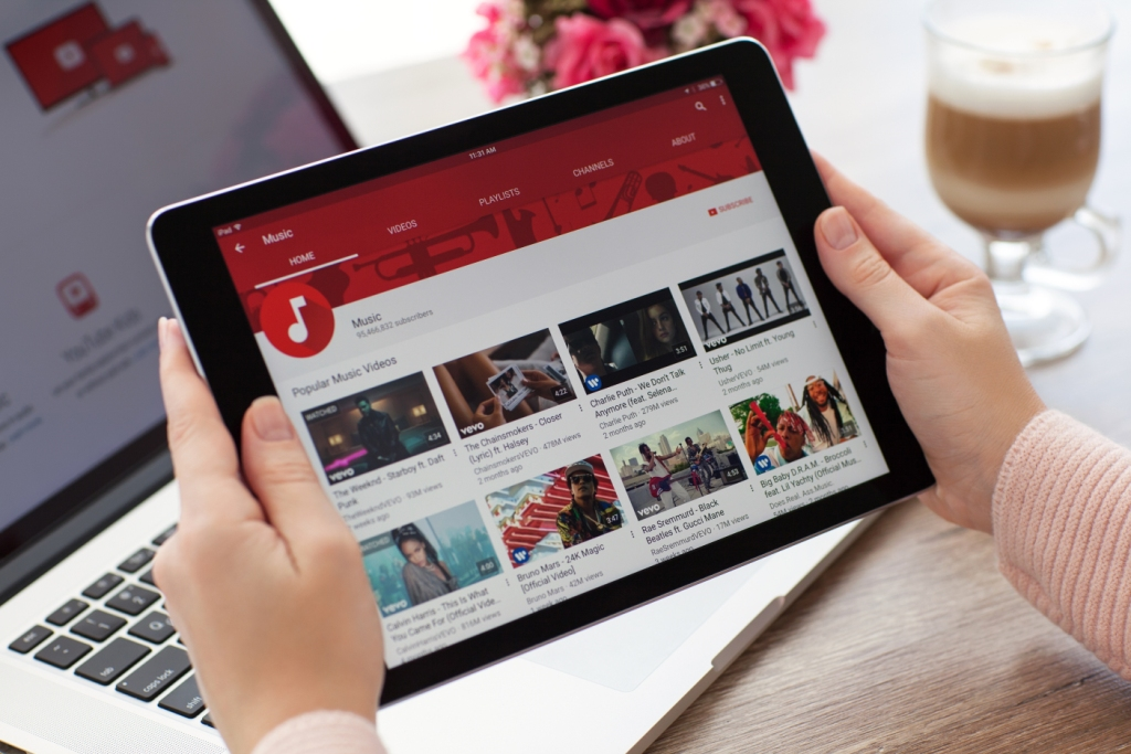 Youtube Home Screen in Tablet